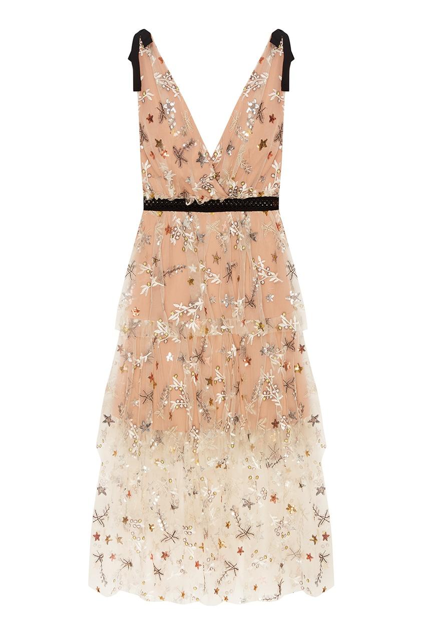 Платье с цветочной вышивкой пайетками
