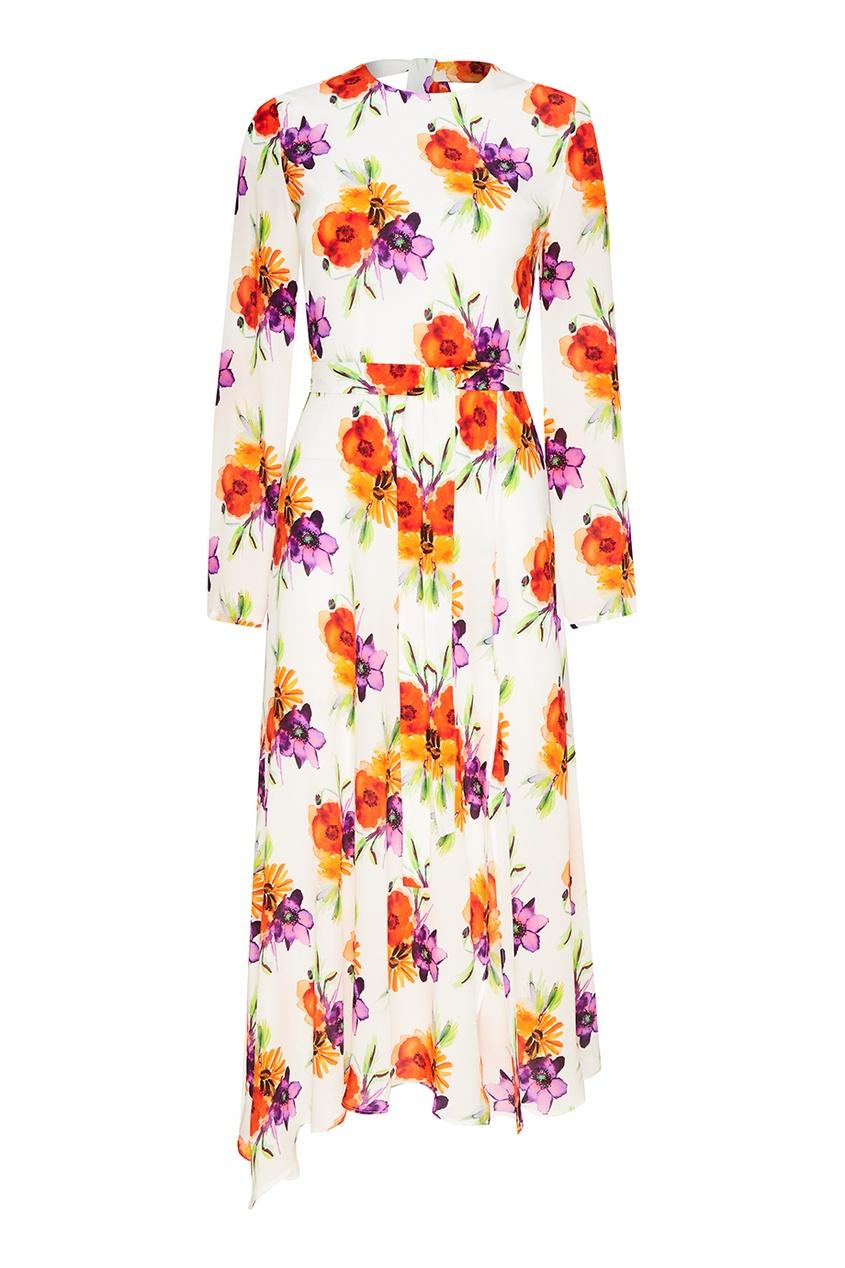 Шелковое платье с акварельными цветами
