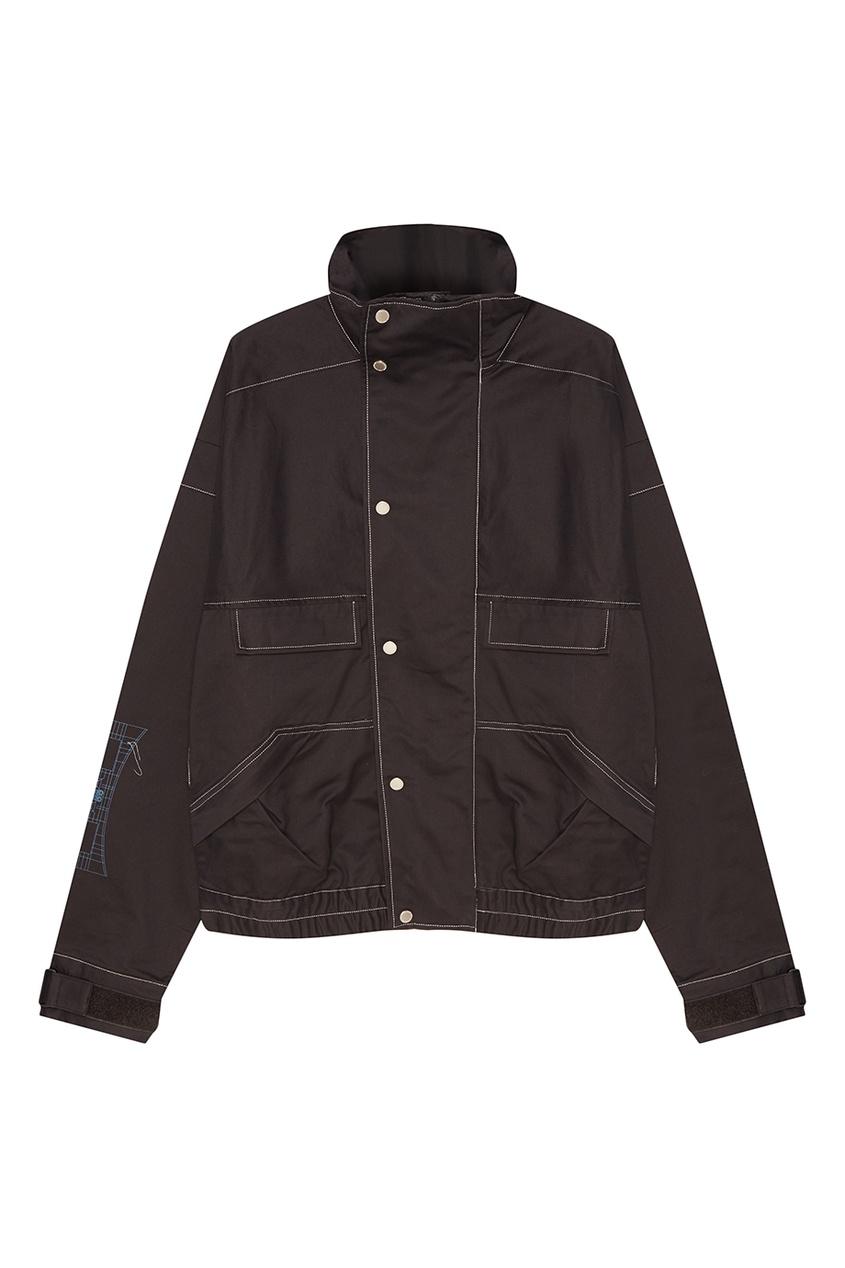 C2H4 Серая хлопковая куртка с карманами куртка темно серая brums ут 00017829