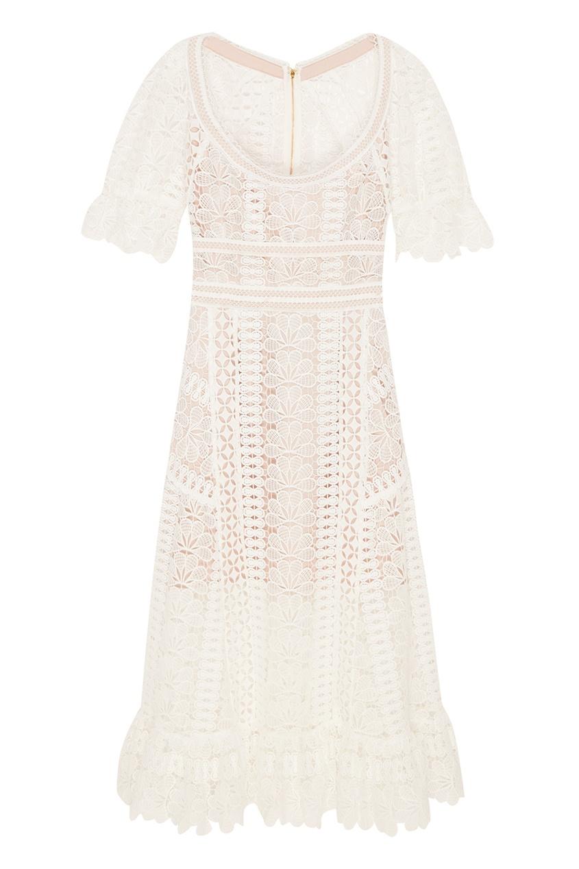 Self-Portrait Белое кружевное платье-миди