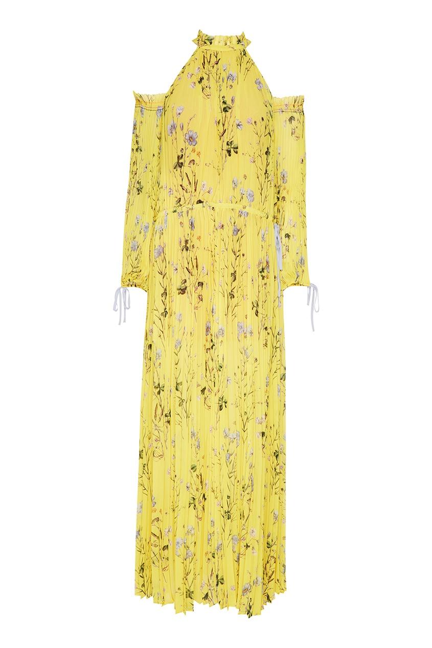 Желтое плиссированное платье с цветами