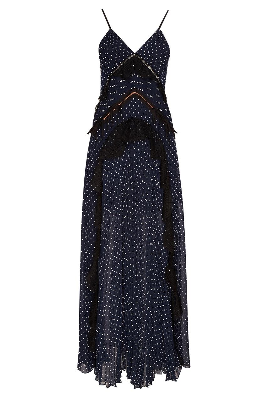 Self-Portrait Платье-макси на тонких бретелях платье летнее на тонких бретелях marianne
