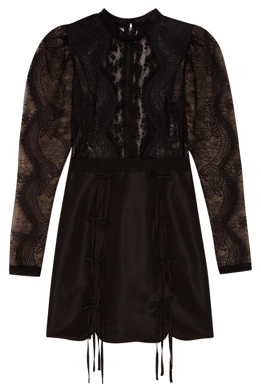 Купить со скидкой Черное платье-мини с кружевом