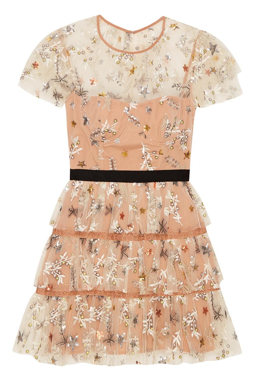 Платье-мини с цветочной вышивкой