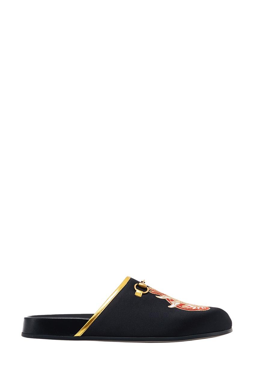 Gucci Черные слиперы из сатина с драконом Horsebit gucci черные кожаные сандалии horsebit