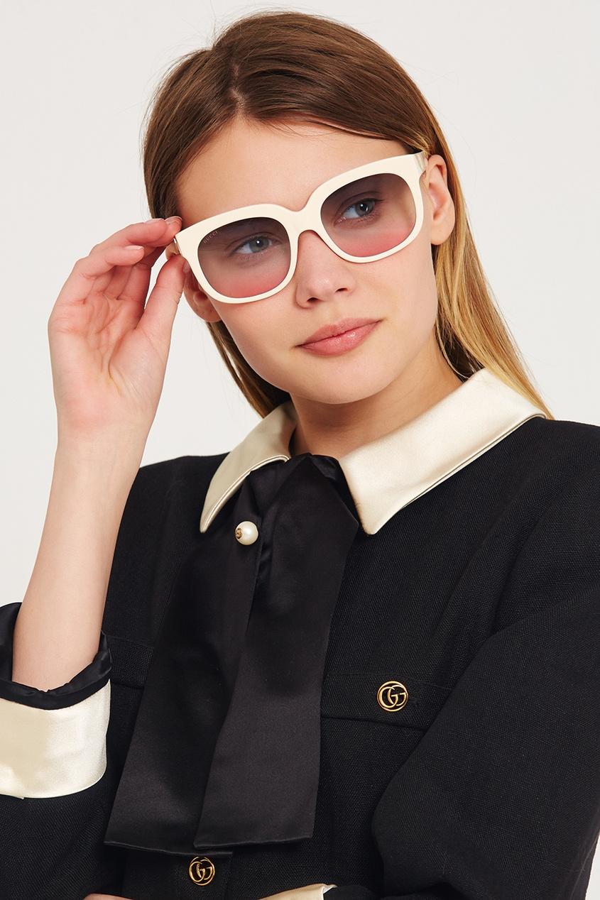 Белые очки с полупрозрачными линзами Elton John