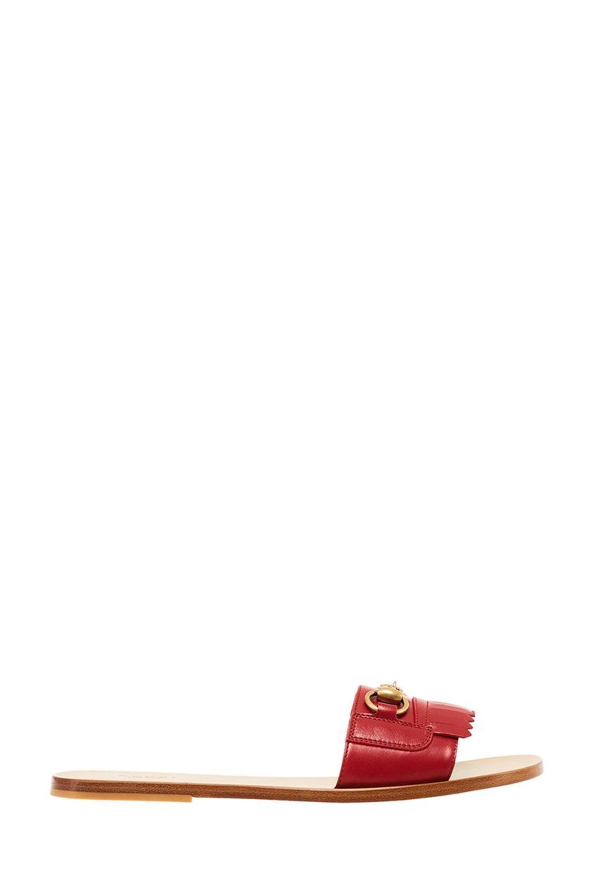 Gucci Красные сандалии с бахромой Horsebit gucci черные кожаные сандалии horsebit