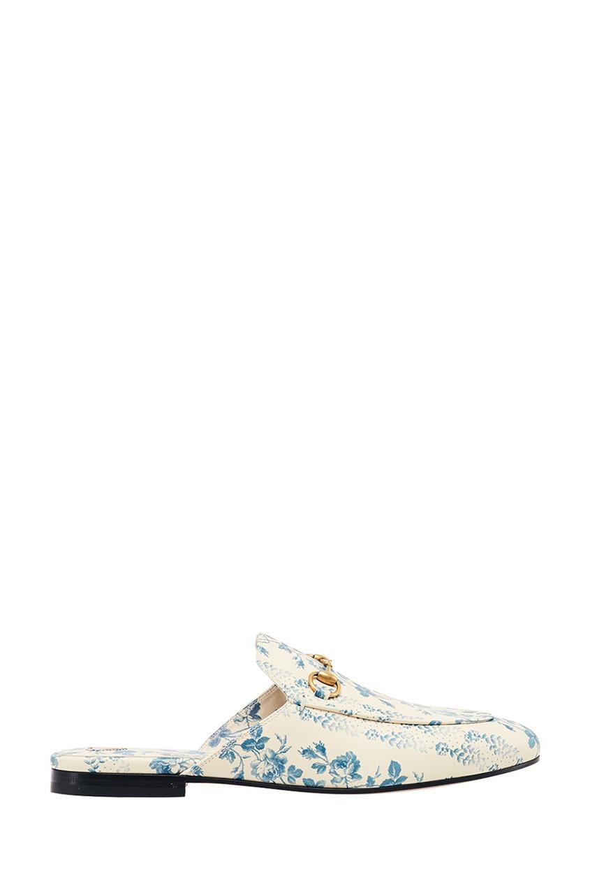 Gucci Кожаные слиперы с цветочным принтом Princetown слиперы beira rio слиперы