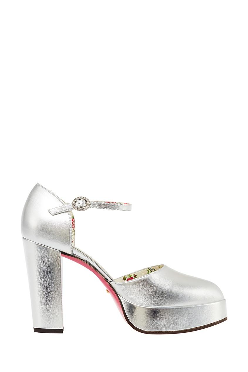 женские туфли gucci, серебряные