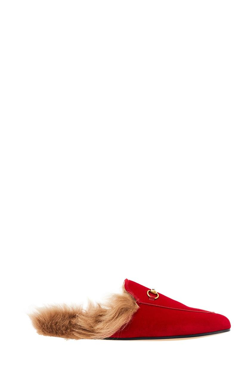 Gucci Красные бархатные слиперы Princetown