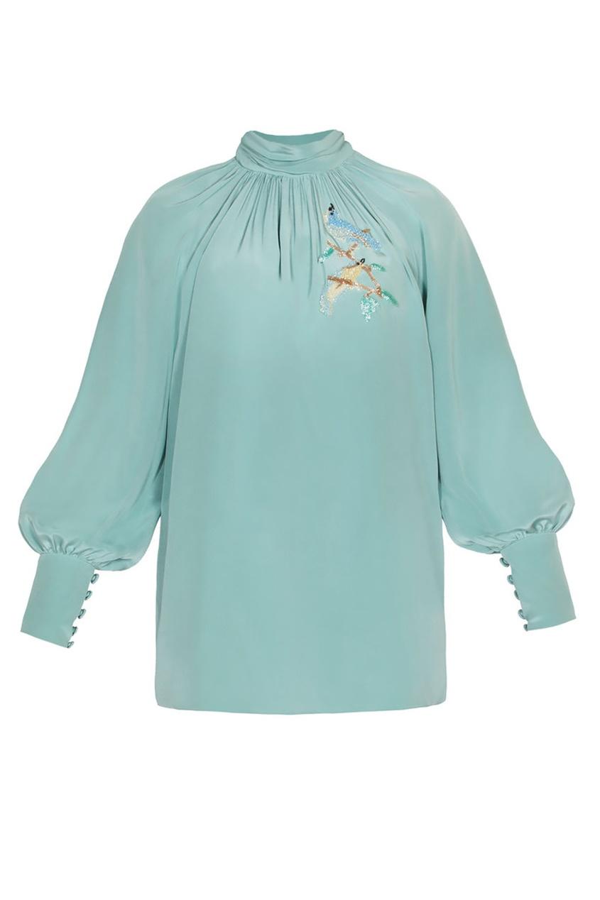 Alena Akhmadullina Шелковая блузка с вышитыми птицами