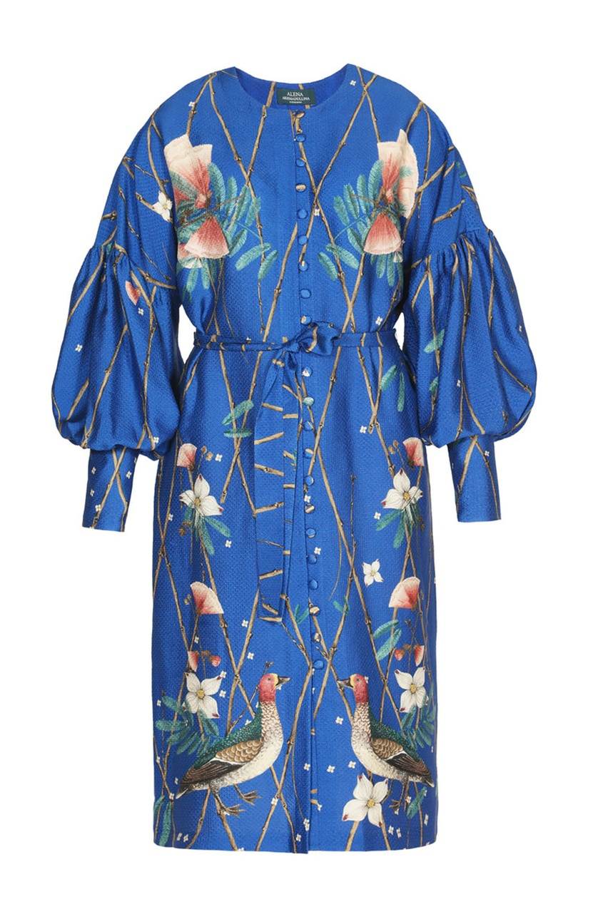 Alena Akhmadullina Платье из текстурированного шелка с принтом alena akhmadullina платье с макропринтом