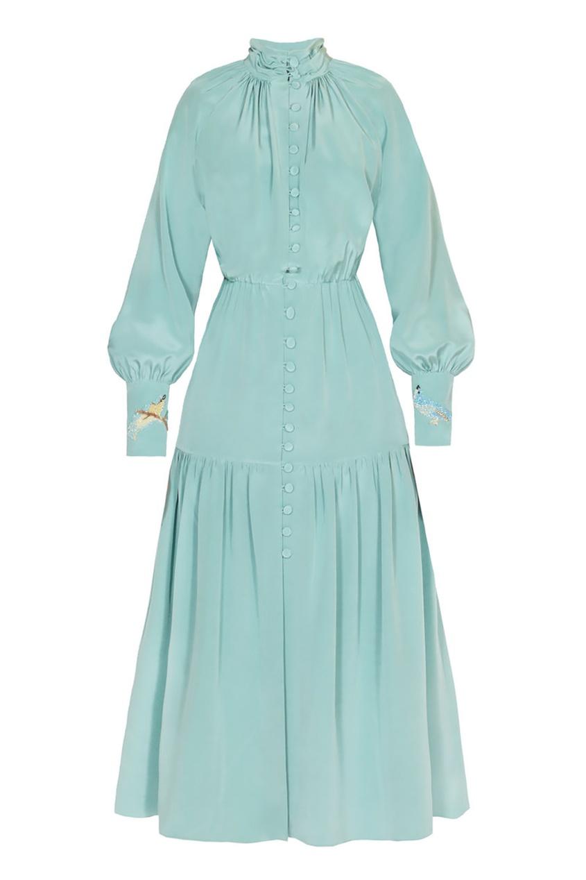 Alena Akhmadullina Шелковое платье-миди с драпировками