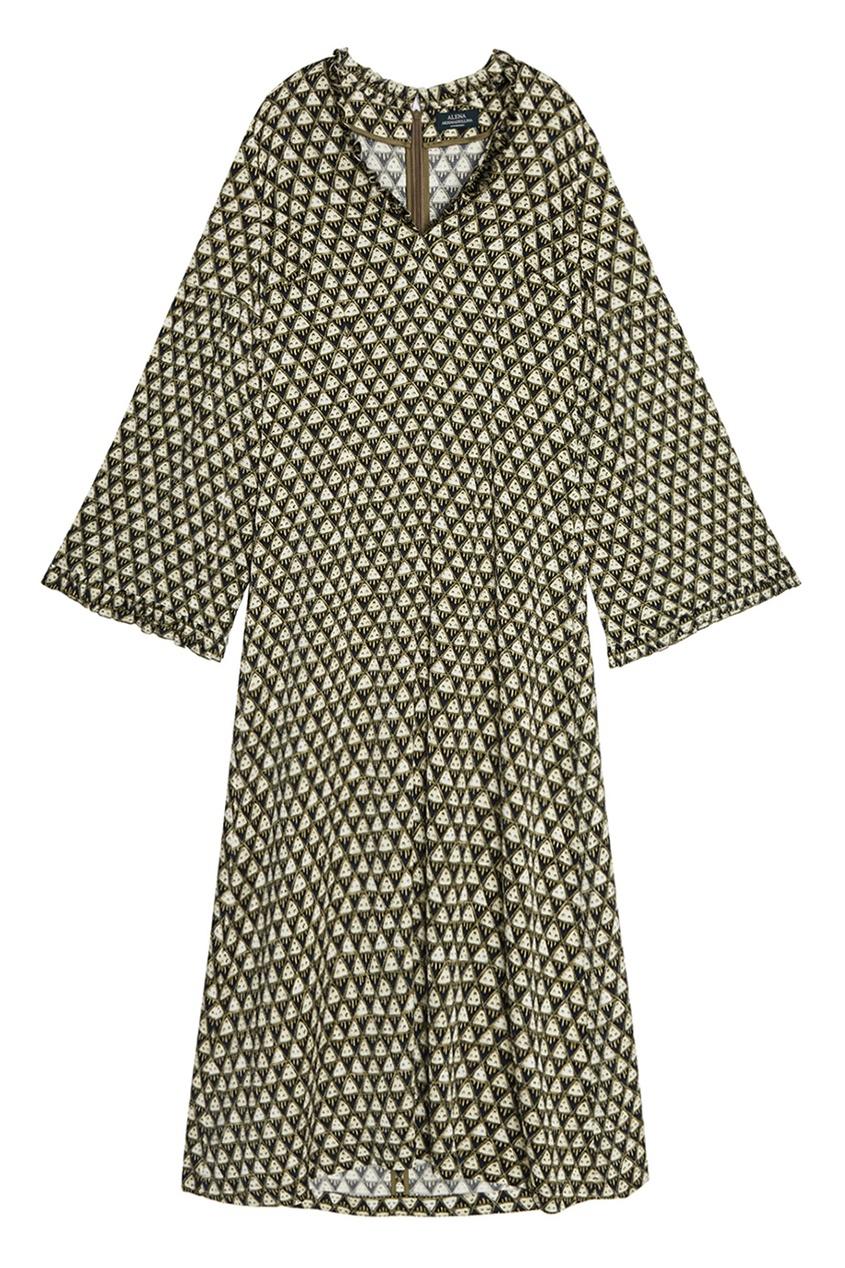 Alena Akhmadullina Платье-миди из шелка с принтом