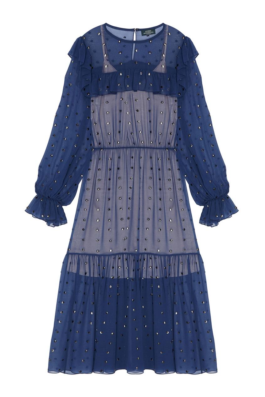 Alena Akhmadullina Платье из синего шелка с кристаллами alena akhmadullina платье с макропринтом