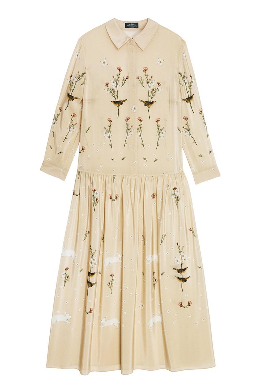 Alena Akhmadullina Платье из бежевого шелка с принтом alena akhmadullina платье с макропринтом