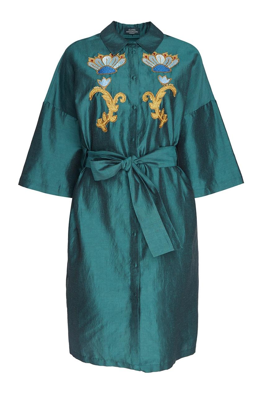 Alena Akhmadullina Платье из шелка и льна с вышивкой alena akhmadullina платье с макропринтом