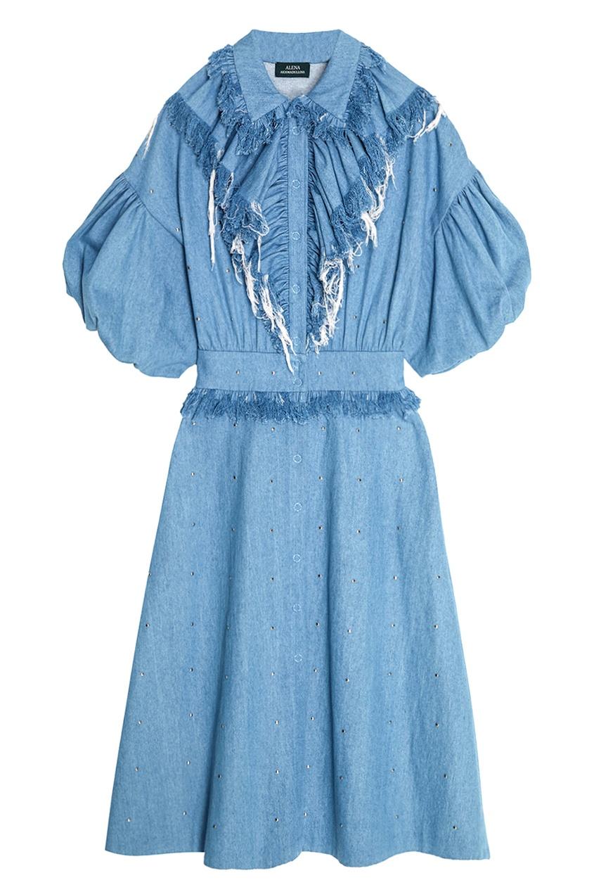 Alena Akhmadullina Синее джинсовое платье с драпировкой alena akhmadullina платье с макропринтом