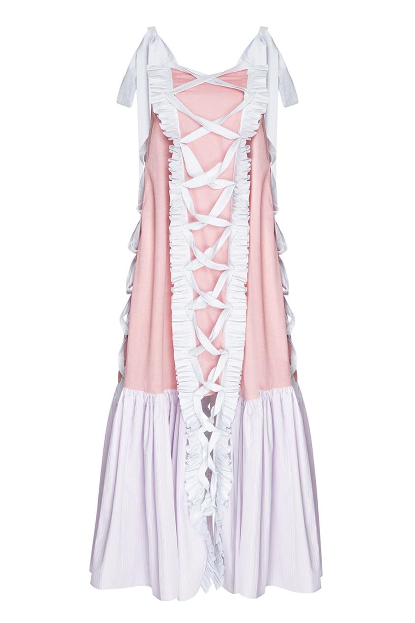 Alena Akhmadullina Платье-миди из комбинированного хлопка