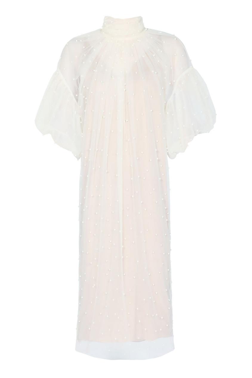 Alena Akhmadullina Платье из бежевой сетки с жемчужинами