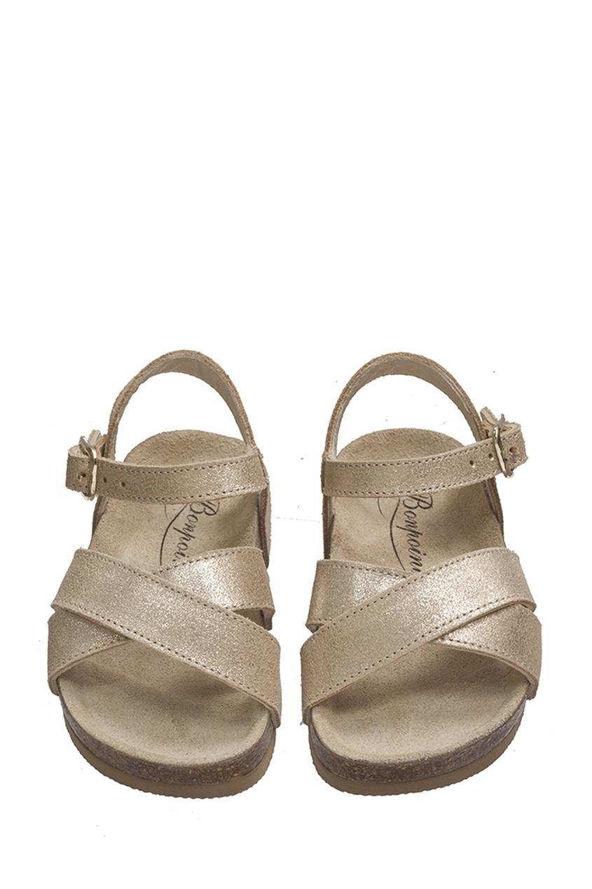 Купить со скидкой Кожаные сандалии золотого цвета BAMBOU