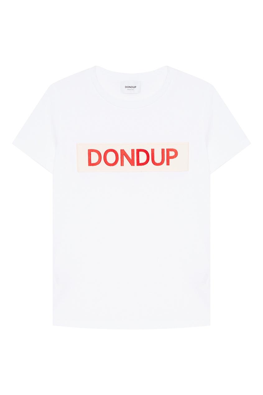 Dondup Белая футболка с аппликацией полуприлегающая футболка с аппликацией