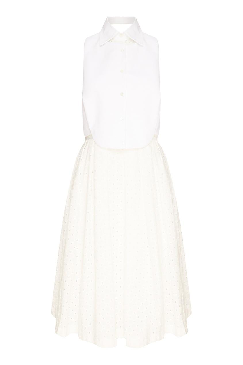 где купить Erika Cavallini Белое платье с ажурной отделкой по лучшей цене