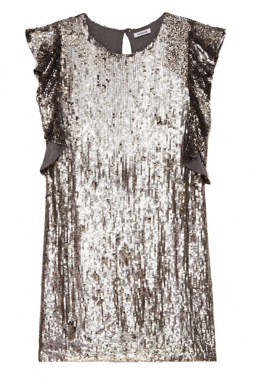 Серебристое платье с оборками на рукавах
