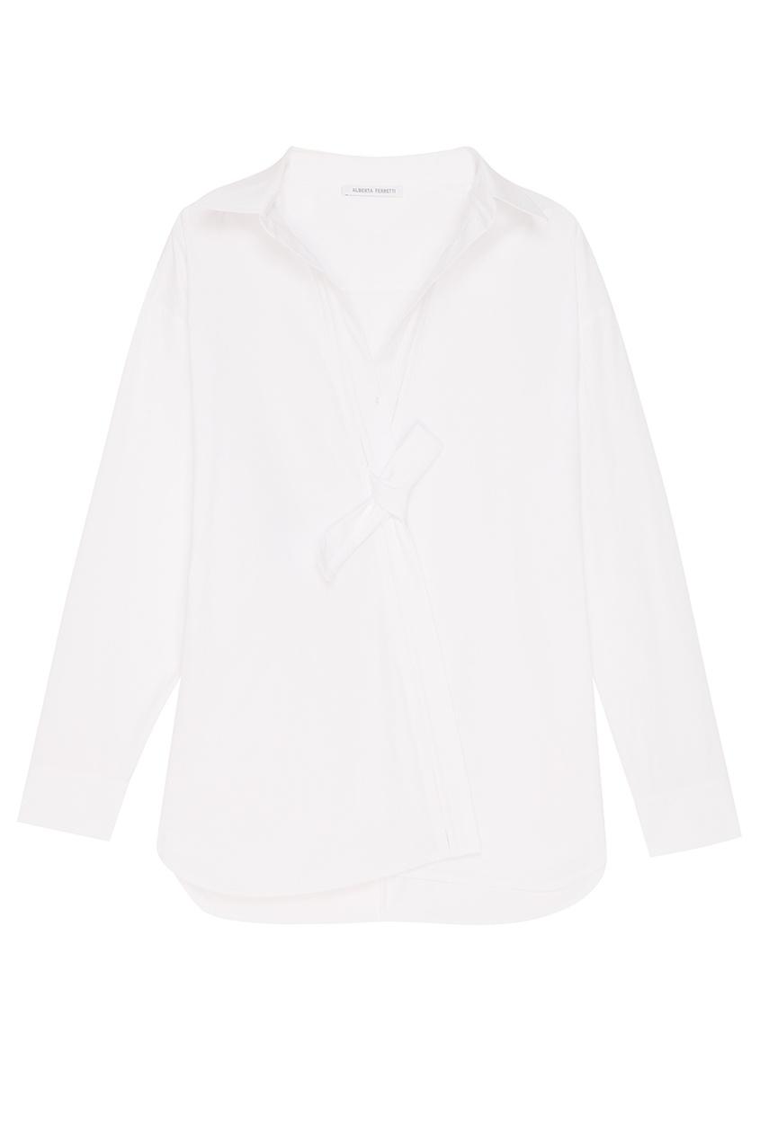 Alberta Ferretti Белая рубашка с запахом осенние новый пиджак обрезанное корейской версии новый осенний износ тонкая белая рубашка леди рукава белая рубашка