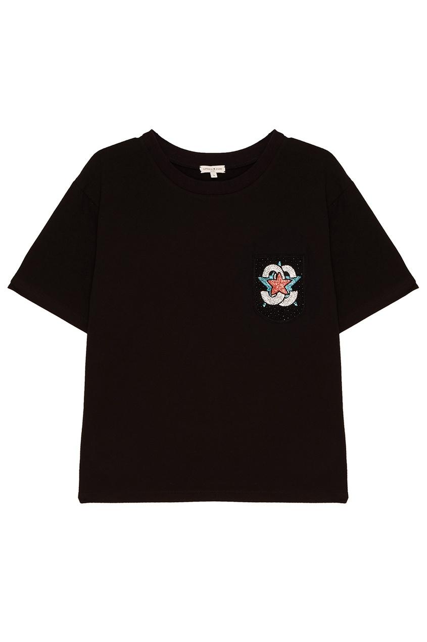 Constance. C Черная футболка с аппликацией на кармане constance c белые брюки с кнопками