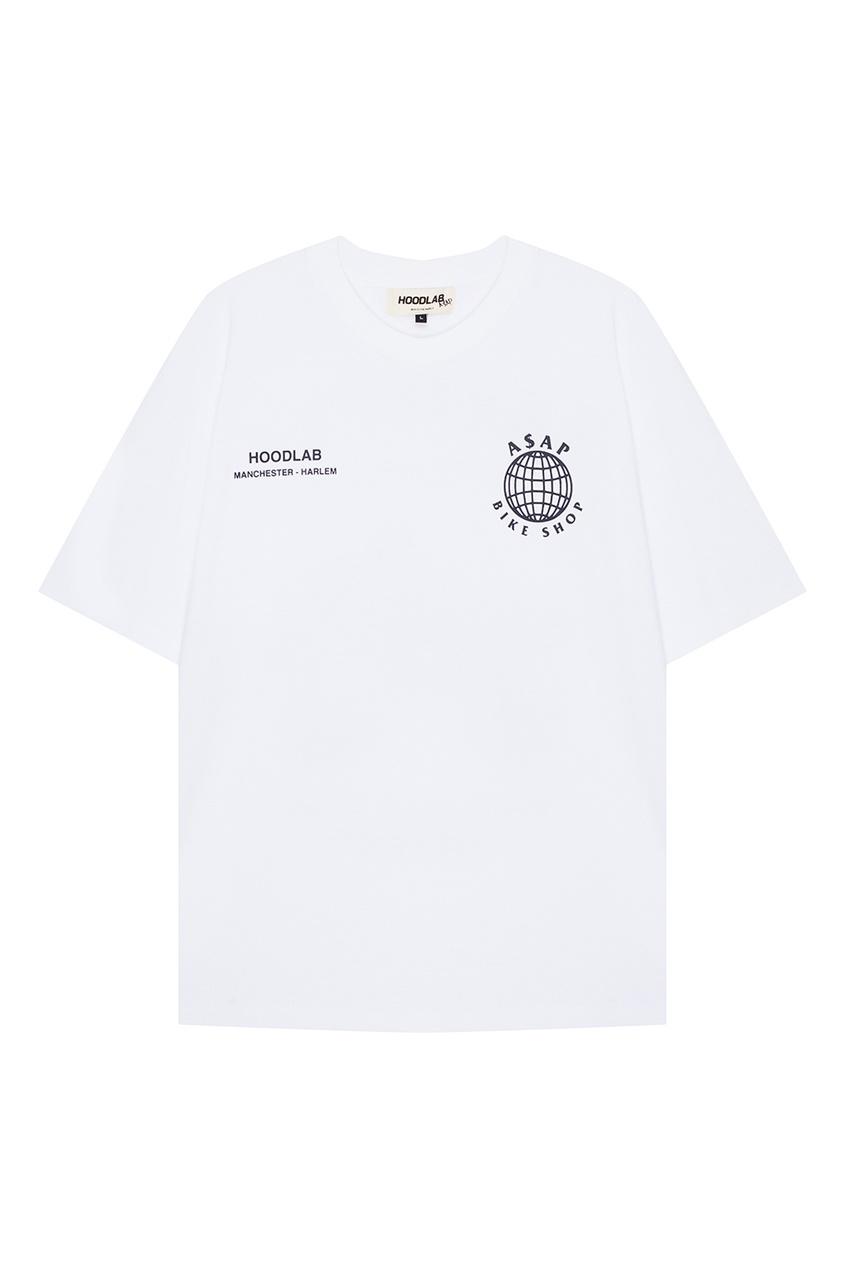 Hoodlab Белая футболка с принтом на спине hoodlab хлопковый комбинезон с символикой