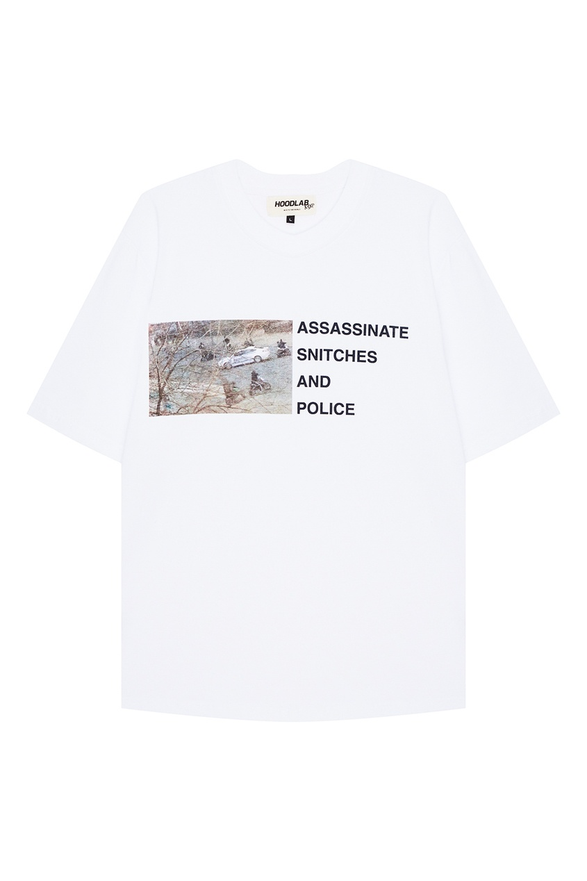 Hoodlab Белая футболка с фотопринтом hoodlab хлопковый комбинезон с символикой