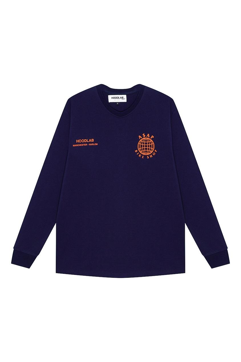 Hoodlab Синий хлопковый лонгслив с эмблемами hoodlab хлопковый комбинезон с символикой