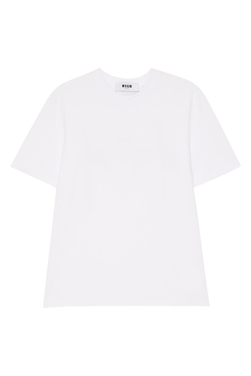 MSGM Белая хлопковая футболка msgm розовая хлопковая футболка