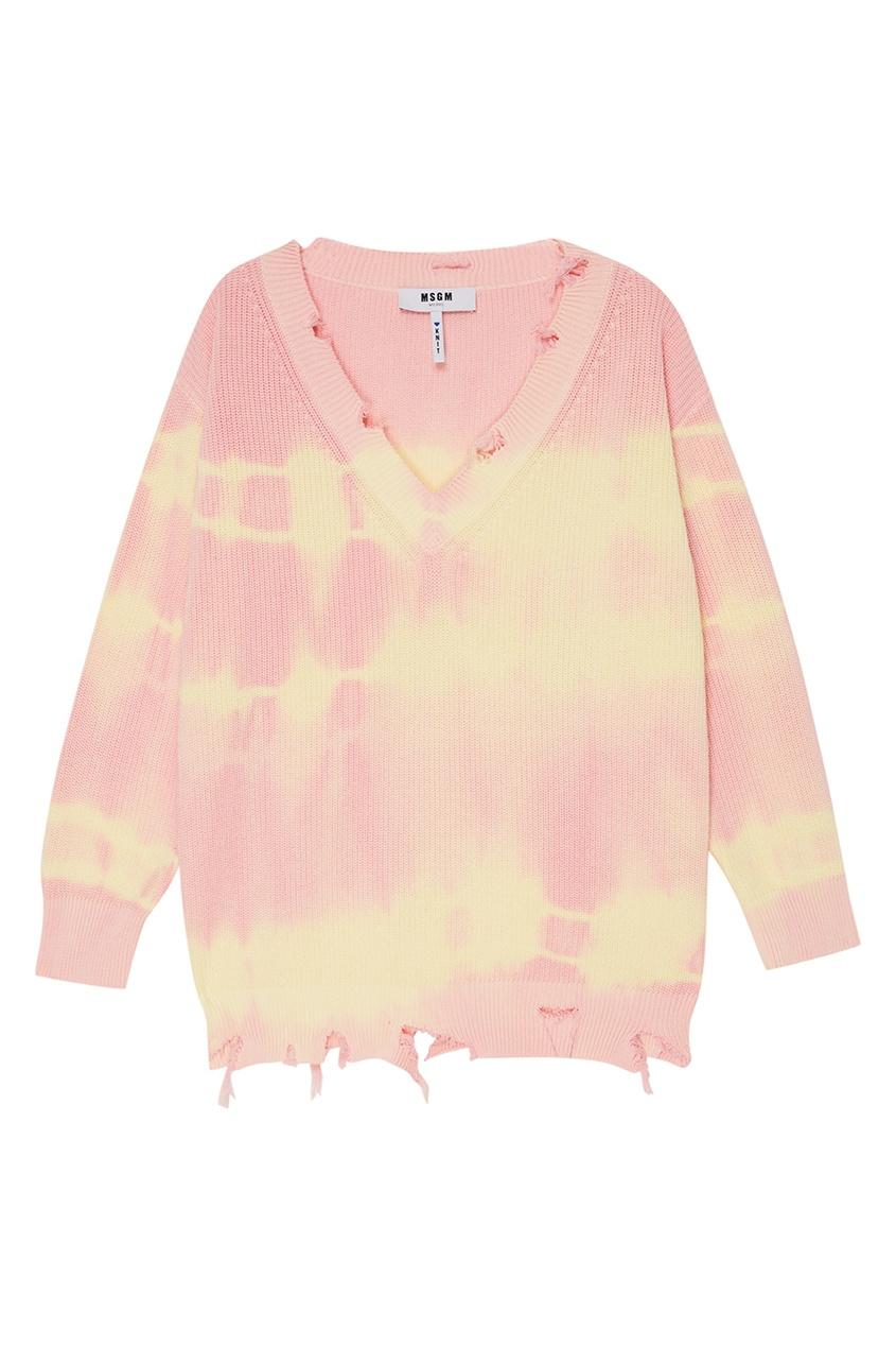 MSGM Хлопковый пуловер tie dye р джинсы perfect tie dye цвет розовый princess supertrash