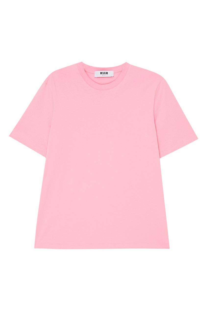 MSGM Розовая хлопковая футболка msgm розовая хлопковая футболка