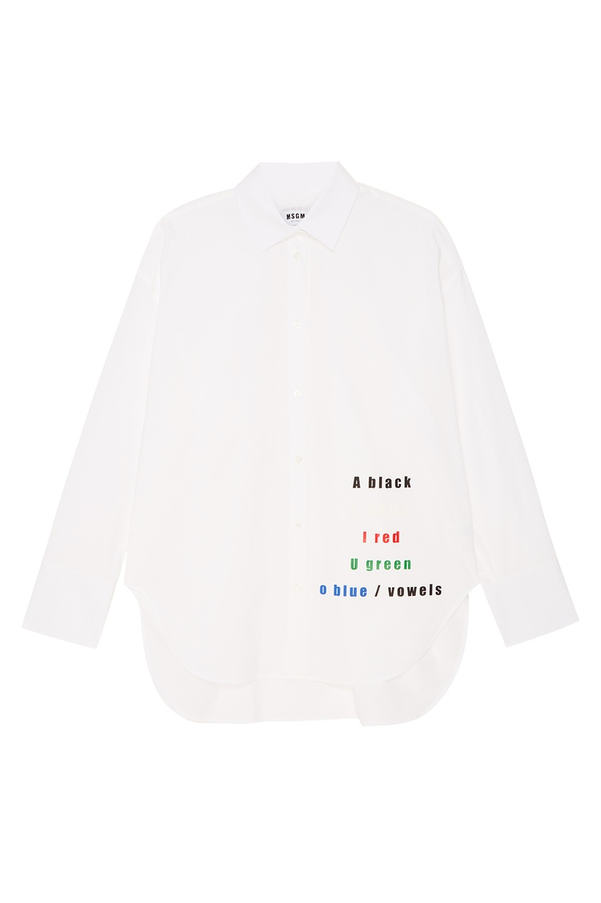 MSGM Белая рубашка с разноцветными надписями нейлоновые чулки с надписями