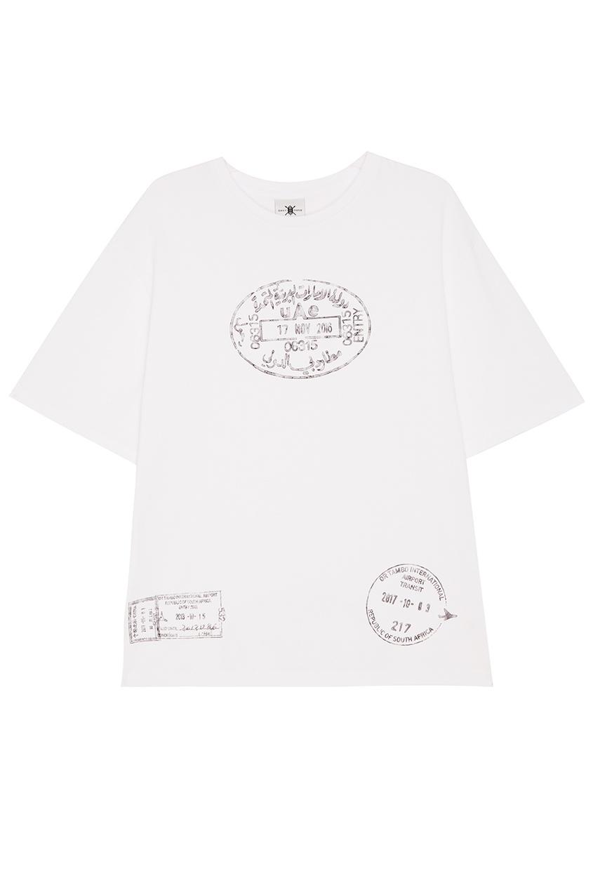 Daily Paper Белая футболка с почтовыми штампами футболка белая catimini ут 00011611