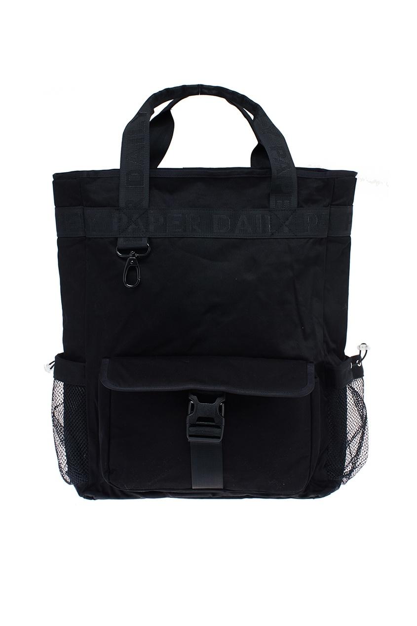 Черная сумка с карманами из сетки