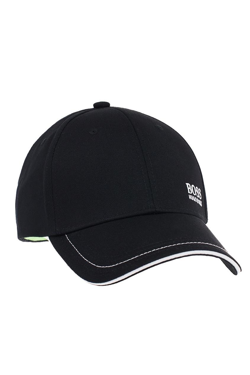 Boss Green Черная хлопковая кепка с контрастным декором