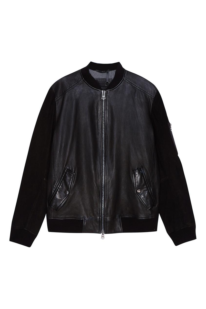 BOSS Куртка-бомбер из кожи и замши boss orange толстовка