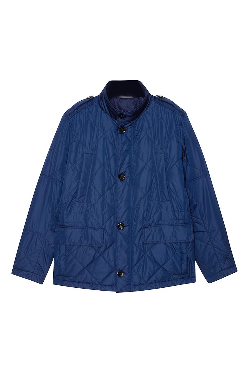 Купить Синяя стеганая куртка с карманами синего цвета