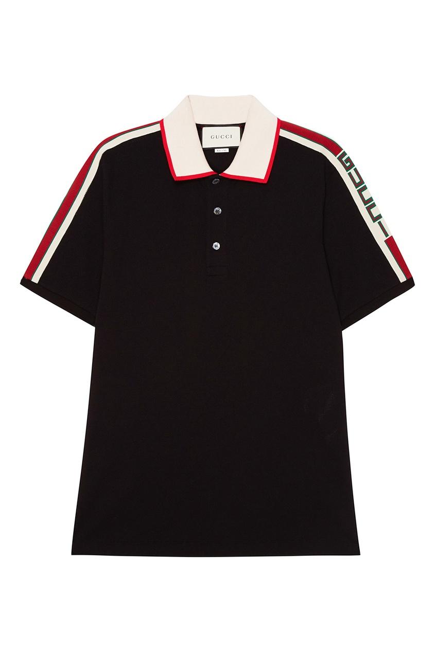 Gucci Черная хлопковая футболка-поло с логотипом boss green черная хлопковая футболка с логотипом