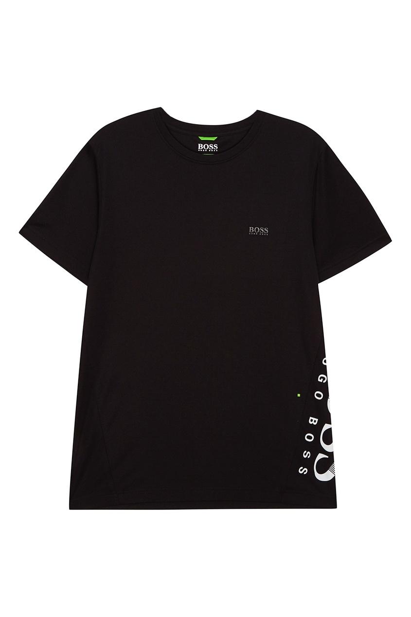 Boss Green Черная хлопковая футболка с логотипом сбоку boss green черная хлопковая футболка с логотипом