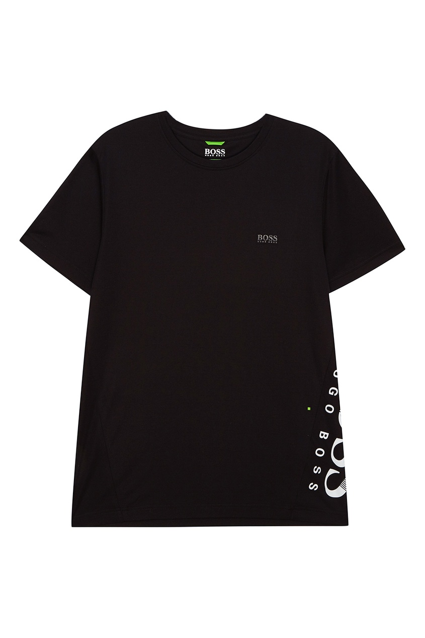 Boss Green Черная хлопковая футболка с логотипом сбоку boss orange толстовка