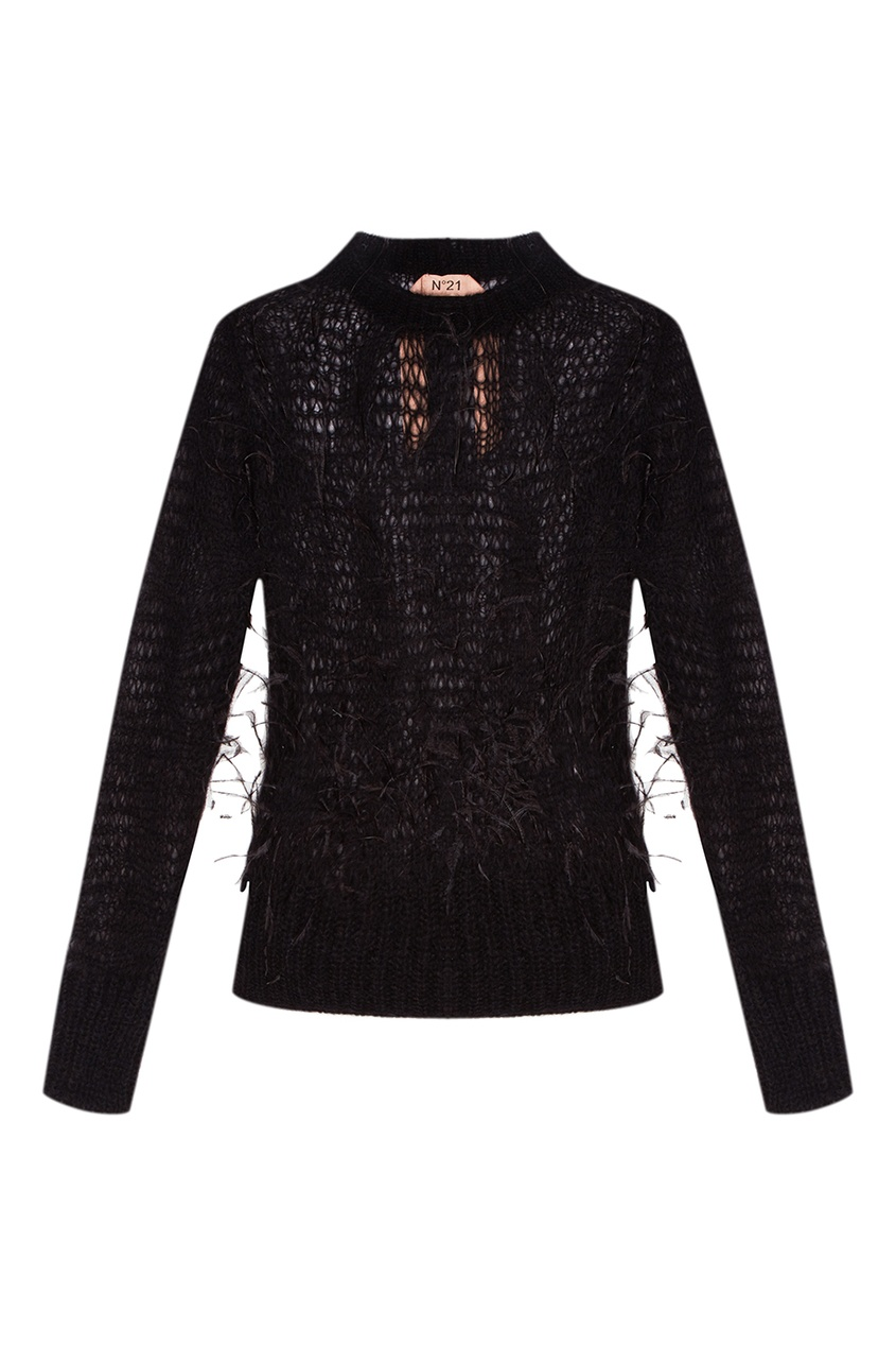 No.21 Черный ажурный джемпер с перьями no 21 хлопковая рубашка с перьями