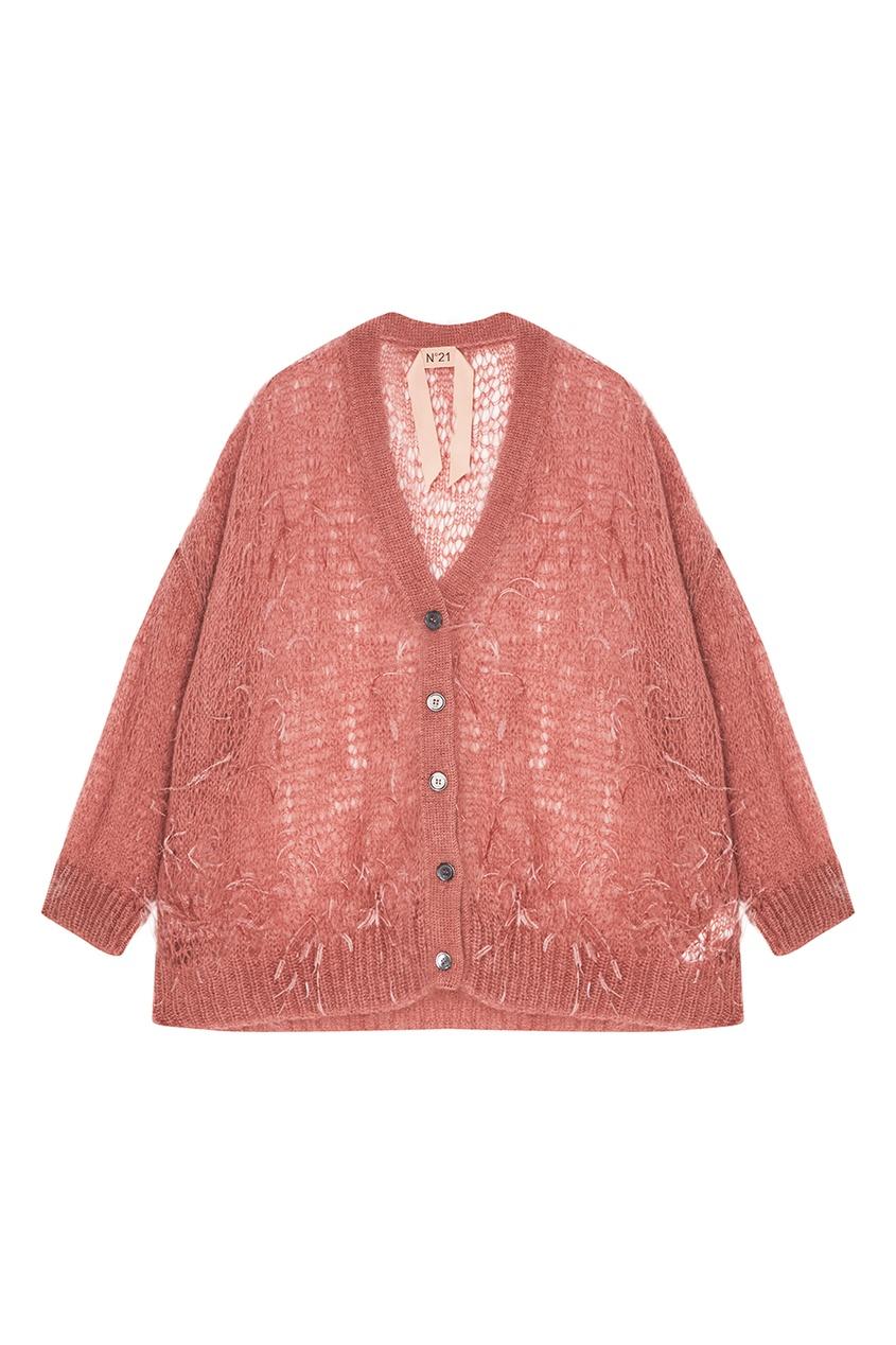 No.21 Розовый ажурный кардиган с перьями ажурный кардиган