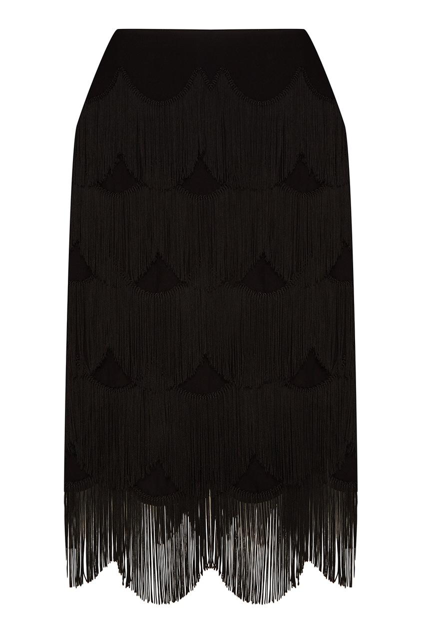 Marc Jacobs Черная юбка-миди с ярусной бахромой юбка marc by marc jacobs юбка