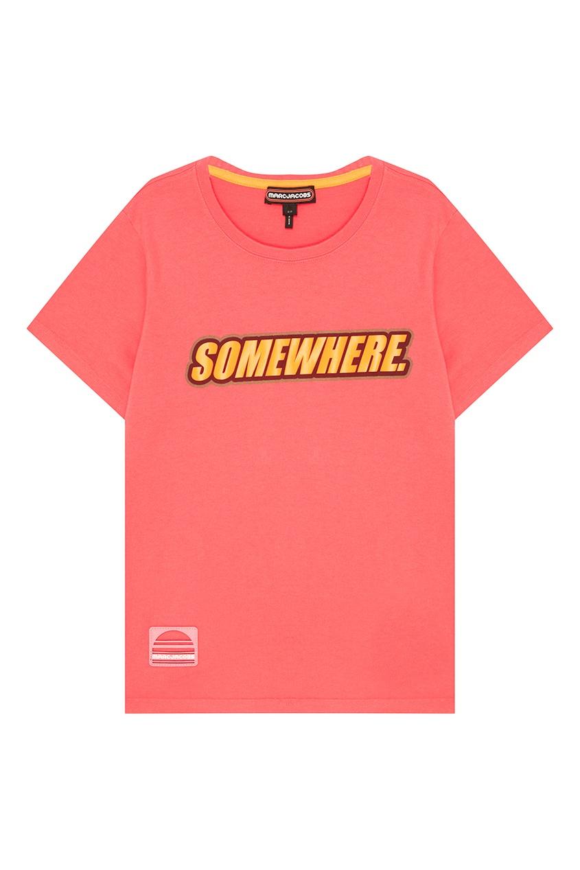 Marc Jacobs Розовая футболка из хлопка Somewhere футболка 560 с короткими рукавами спортивная для малышей розовая