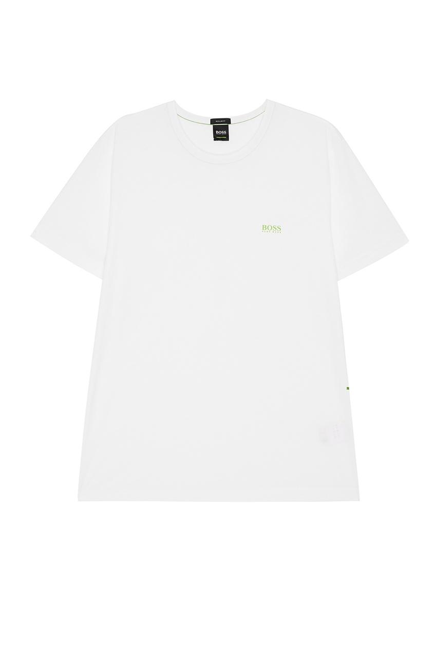 Boss Green Белая футболка с ярким логотипом boss green черная хлопковая футболка с логотипом